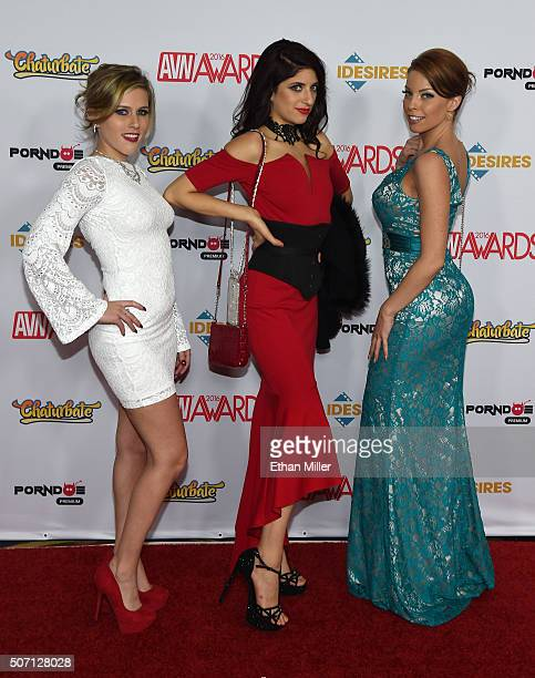 Adult film actresses Sasha Heart Nikki Knightley and Britney Amber attend the 2016 Adult Video News Awards at the Hard Rock Hotel Casino on January...