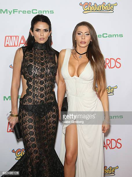 Adult film actresses Shy Love and Madison Ivy attend the 2017 Adult Video News Awards at the Hard Rock Hotel Casino on January 21 2017 in Las Vegas...