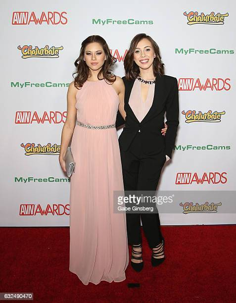 Adult film actresses Shyla Jennings and Jenna Sativa attend the 2017 Adult Video News Awards at the Hard Rock Hotel Casino on January 21 2017 in Las...