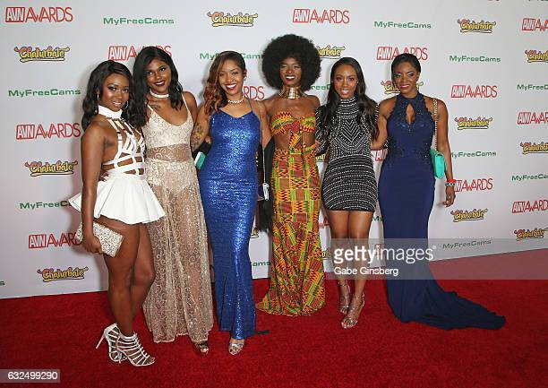 Adult film actresses Skyler Nicole Yara Skye Lotus Lain Anna Foxxx Chanell Heart and Jasmine Webb attend the 2017 Adult Video News Awards at the Hard...