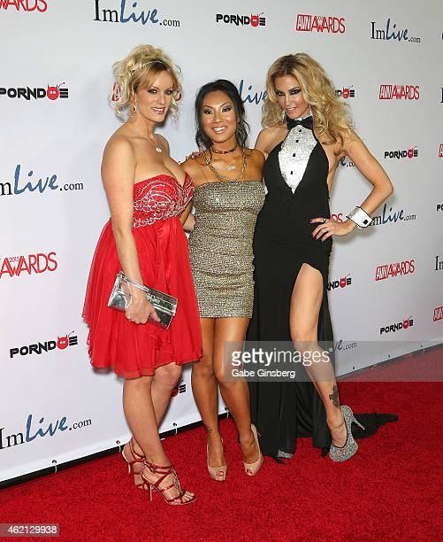 Adult film actresses Stormy Daniels, Asa Akira and jessica drake arrive at the 2015 Adult Video News Awards at the Hard Rock Hotel & Casino on...