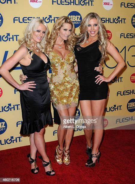 Adult film actresses Stormy Daniels Jessica Drake and Samantha Saint arrive for the 2013 XBIZ Awards held at the Hyatt Regency Century Plaza on...