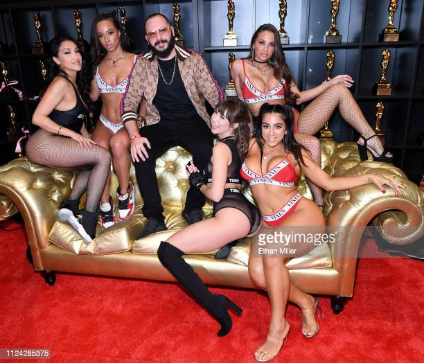 Adult film actresses Vicki Chase and Teanna Trump adult film producer/director Greg Lansky and adult film actresses Riley Reid Abigail Mac and Lena...