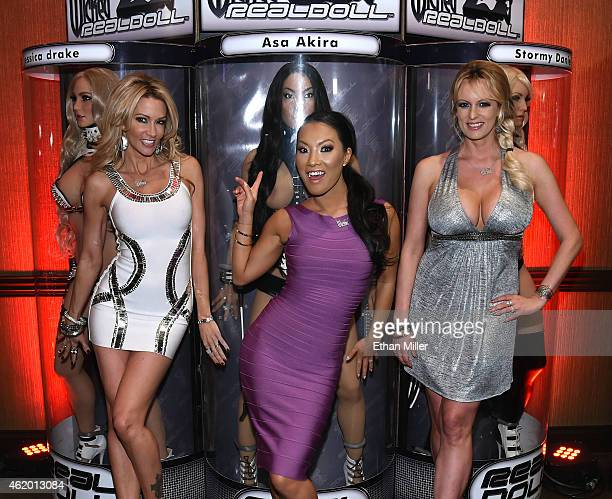Adult film actresses/directors jessica drake, Asa Akira and Stormy Daniels pose with their Wicked RealDolls at the 2015 AVN Adult Entertainment Expo...