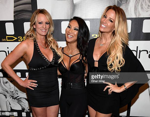 Adult film actresses/directors Stormy Daniels Asa Akira and jessica drake appear at the Wicked Pictures booth at the 2017 AVN Adult Entertainment...