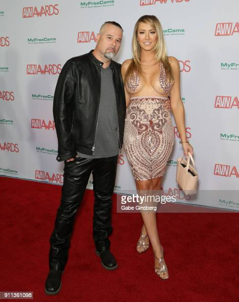 Adult film director Anton Slayer and adult film actress Brett Rossi attend the 2018 Adult Video News Awards at the Hard Rock Hotel Casino on January...