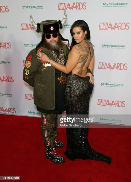 Adult film director Ivan Dragon and adult film actress Mary Jean attend the 2018 Adult Video News Awards at the Hard Rock Hotel Casino on January 27...