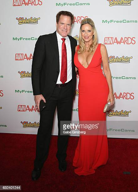 Adult film director Jay West and his wife adult film actress Jodi West attend the 2017 Adult Video News Awards at the Hard Rock Hotel Casino on...