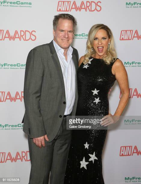 Adult film director Jay West and his wife adult film actress Jodi West attend the 2018 Adult Video News Awards at the Hard Rock Hotel Casino on...