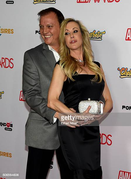 Adult film director Jonathan Morgan and adult film actress Brandi Love attend the 2016 Adult Video News Awards at the Hard Rock Hotel Casino on...