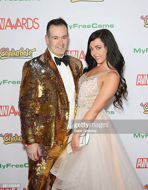 Adult film director Jonny Gash and adult film actress Whitney Wright attend the 2017 Adult Video News Awards at the Hard Rock Hotel Casino on January...