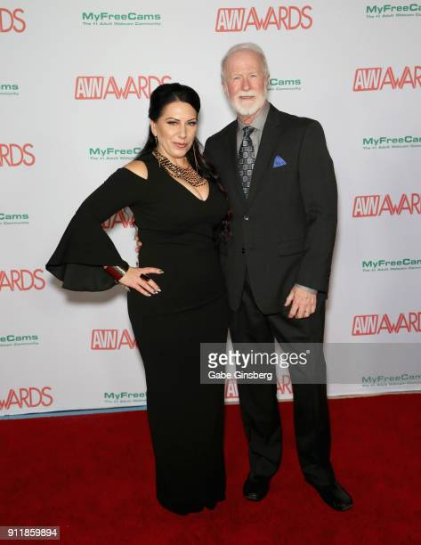 Adult film director Kay Brandt and Adam Eve Director of New Business Bob Christian attend the 2018 Adult Video News Awards at the Hard Rock Hotel...