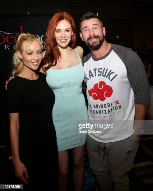 Adult film director/actress Kayden Kross actress Maitland Ward and adult film actor/director Manuel Ferrara pose at the Rock Candy/bedroom Products...