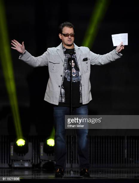 Adult film director/producer Kevin Moore speaks about his late wife adult film actress August Ames during the 2018 Adult Video News Awards at The...
