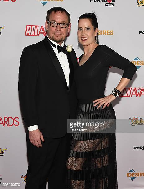 Adult film director/producer Max Candy and dominatrix Simone Justice attend the 2016 Adult Video News Awards at the Hard Rock Hotel Casino on January...