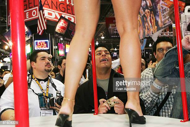 Adult film entertainers participate in the 2005 AVN Adult Entertainment Expo at the Sands Convention Center in the Venetian Hotel on January 8 2005...