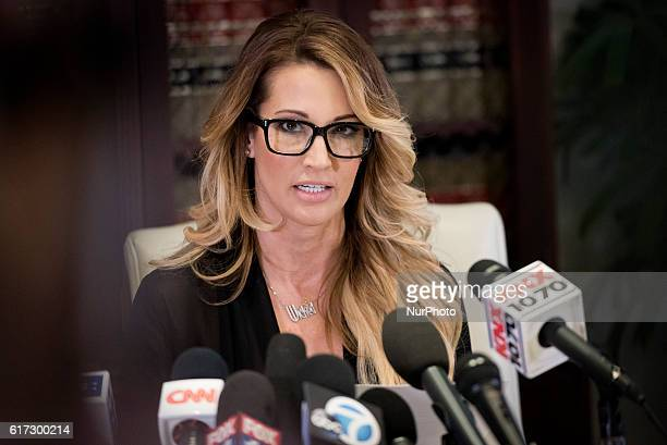 Adult film performer jessica drake who accuses Republican presidential nominee Donald Trump of sexual misconduct speaks to reporters during a news...