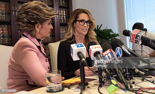 Adult film performer, jessica drake, who accuses Republican presidential nominee, Donald Trump, of sexual misconduct speaks to reporters alongside...