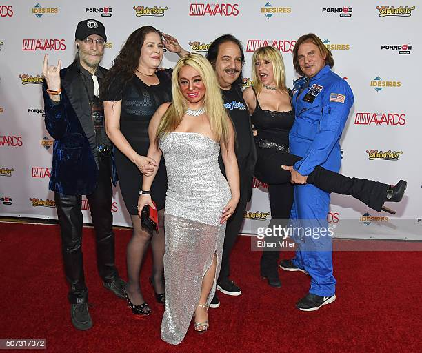 Adult film performers Captain Steve Helen Bedd Viviane Jeremy Ron Jeremy Syn and Evan Stone attend the 2016 Adult Video News Awards at the Hard Rock...