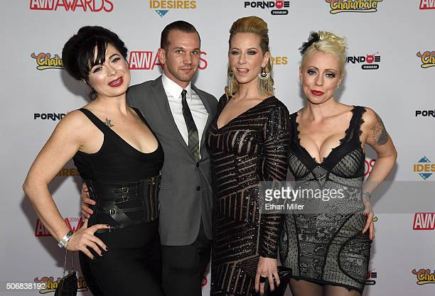 Adult film performers Siouxsie Q Will Havoc Madeline Marlow and Lorelei Lee attend the 2016 Adult Video News Awards at the Hard Rock Hotel Casino on...