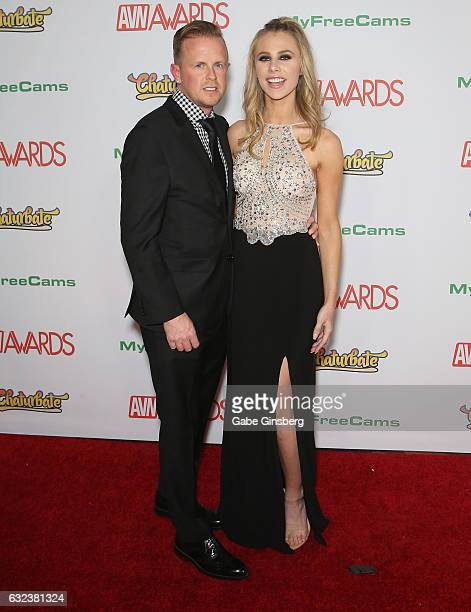 Adult film producer/director Jules Jordan and adult film actress Anya Olsen attends the 2017 Adult Video News Awards at the Hard Rock Hotel Casino on...
