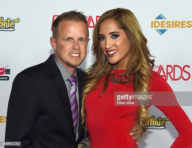 Adult film producer/director Jules Jordan and adult film actress Chloe Amour attend the 2016 Adult Video News Awards at the Hard Rock Hotel Casino on...