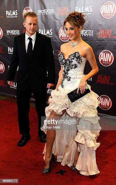 Adult film producer/director Jules Jordan and adult film actress Jenna Haze arrive at the 27th annual Adult Video News Awards Show at the Palms...