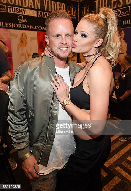 Adult film producer/director Jules Jordan and adult film actress Jessa Rhodes appear at the Jules Jordan Video booth at the 2017 AVN Adult...