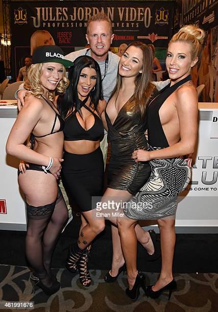 Adult film producer/director Jules Jordan poses with adult film actresses Dakota James, Romi Rain, Dani Daniels and Samantha Saint at the Jules...