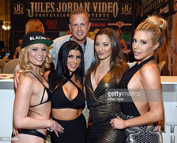 Adult film producer/director Jules Jordan poses with adult film actresses Dakota James Romi Rain Dani Daniels and Samantha Saint at the Jules Jordan...