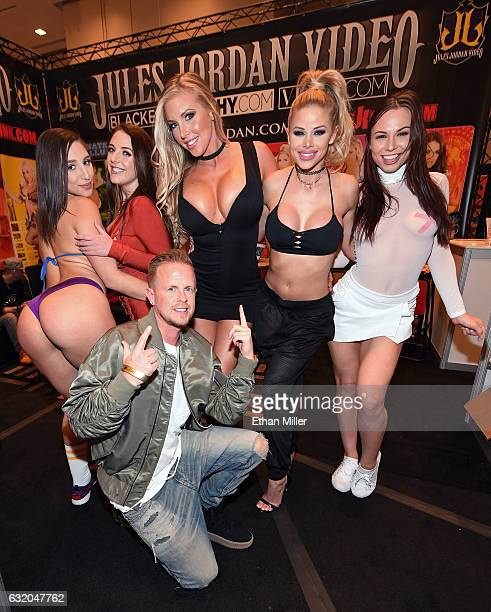 Adult film producer/director Jules Jordan poses with adult film actresses Abella Danger, Angela White, Samantha Saint, Jessa Rhodes and Aidra Fox at...