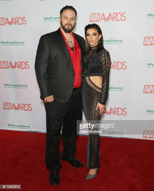 Adult film producer/director Marc Mojo and adult film actress Darcie Dolce attend the 2018 Adult Video News Awards at the Hard Rock Hotel Casino on...