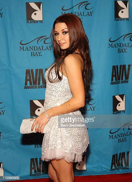 Adult Film Star Ann Marie Rios arrives on the red carpet at the 2009 AVN Awards Show at the Sands Expo Convention Center on January 10 2009 in Las...
