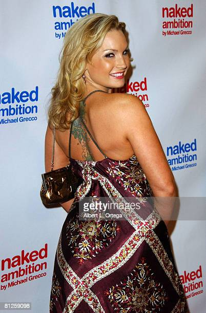 "Adult film star Flower Tucci arrives at photographer Michael Greeco's book signing and gallery showing of ""Naked Ambition: An R-Rated Look at an..."