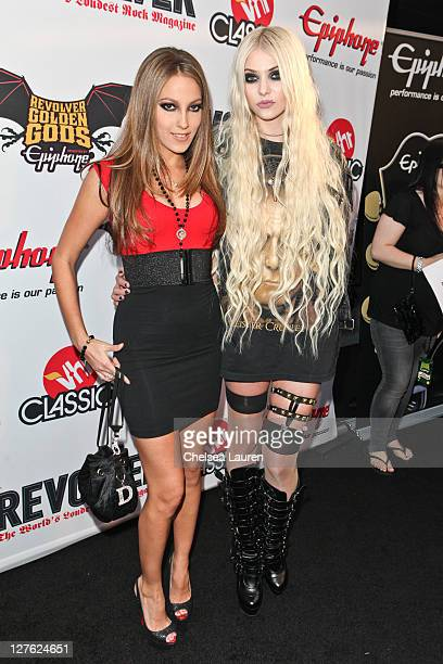 Adult film star Jenna Haze and actress / musician Taylor Momsen arrive at the 3rd Annual Revolver Golden God Awards at Club Nokia on April 20 2011 in...