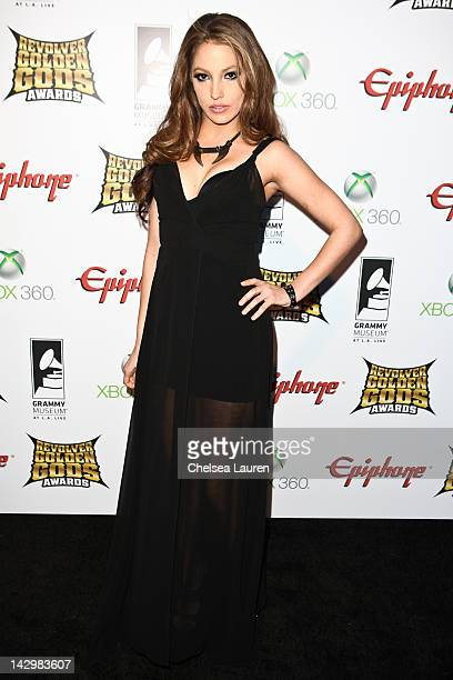 Adult film star Jenna Haze arrives at the 4th annual Revolver Golden Gods awards at Club Nokia on April 11, 2012 in Los Angeles, California.
