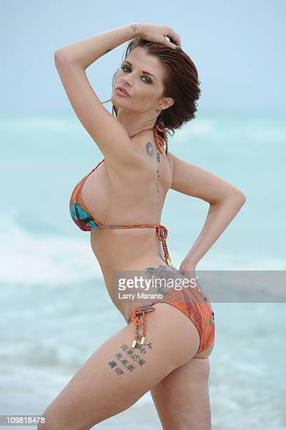 Adult film star Joslyn James poses on March 6 2011 in Miami Beach Florida