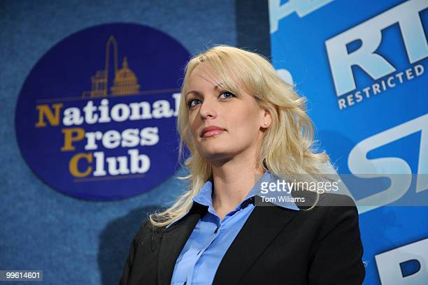 Adult film star Stormy Daniels appeared at a news conference to tout the success of Restricted to Adults website and other efforts by the adult film...