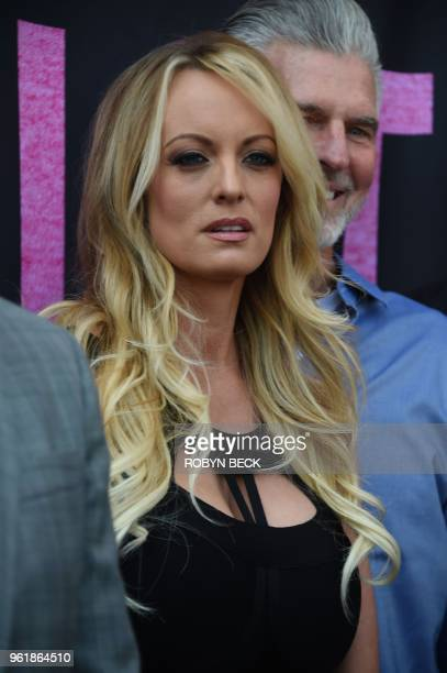 Adult film star Stormy Daniels attends a ceremony to receive a key to the city of West Hollywood from Mayor John Duran May 23 2018 in West Hollywood...