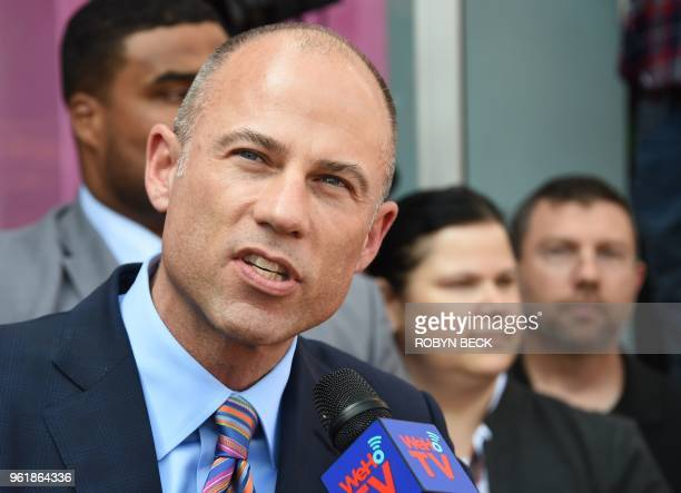 Adult film star Stormy Daniels' attorney Michael Avenatti speaks during a ceremony as Daniels receives a key to the city of West Hollywood from Mayor...