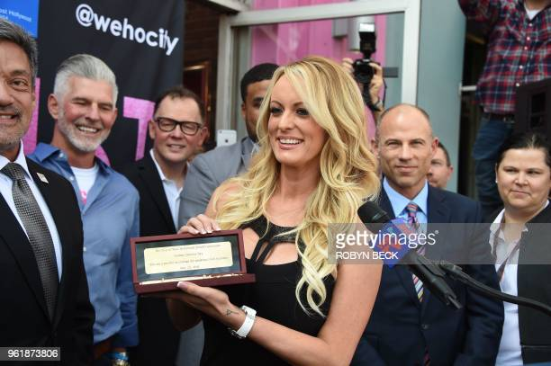 Adult film star Stormy Daniels receives a key to the city of West Hollywood May 23 2018 in West Hollywood California Daniels whose real name is...