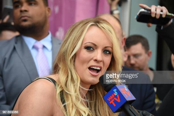 Adult film star Stormy Daniels speaks after receiving a key to the city of West Hollywood from Mayor John Duran May 23 2018 in West Hollywood...