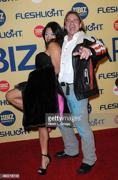 Adult film star Syren and Adult film actor Evan Stone arrive for the 2013 XBIZ Awards held at the Hyatt Regency Century Plaza on January 11 2013 in...