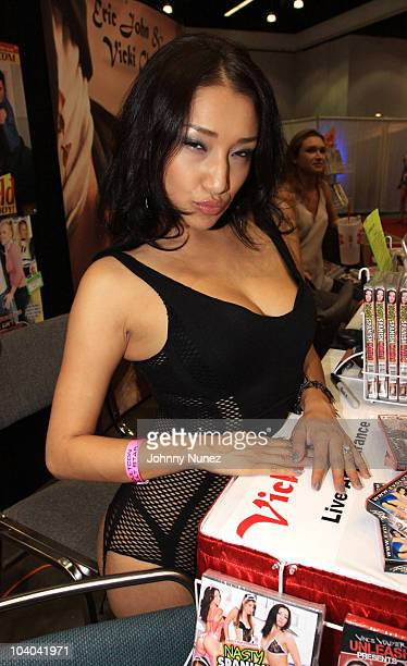 Adult film star Vicki Chase attends the Adultcon Adult Entertainment Convention at Los Angeles Convention Center on September 12 2010 in Los Angeles...
