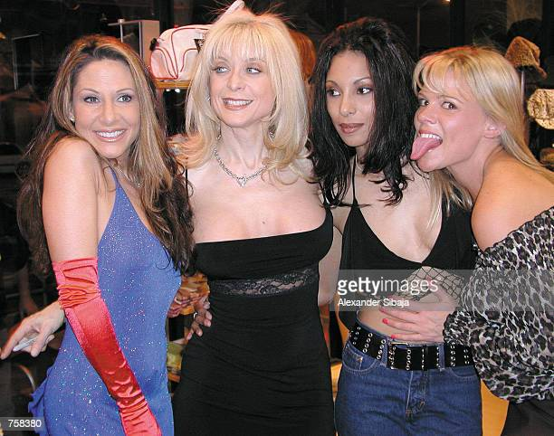 Adult film stars Alexandra Silk Nina Hartley Dee and Keri Windsor attend the post Valentine's Day Adam Eve Productions event at The Hustler Store...