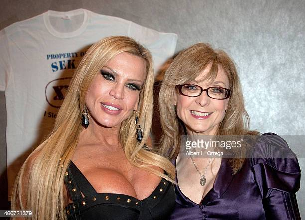 Adult film stars Amber Lynn and Nina Hartley attend The Hollywood Show at Lowes Hollywood Hotel on January 4 2014 in Hollywood California