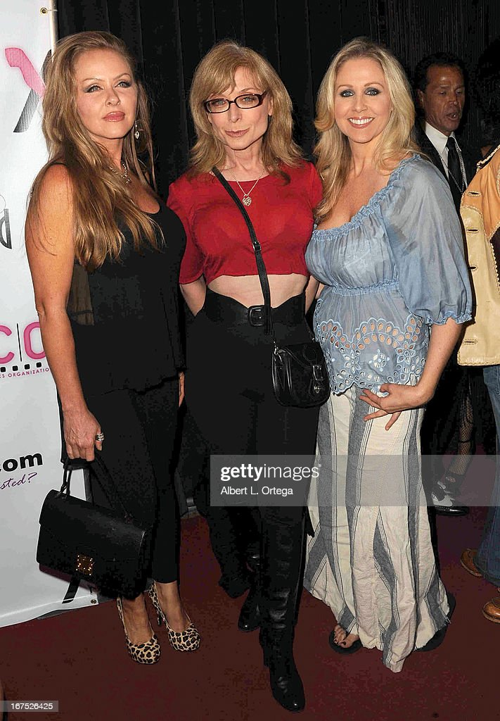 Adult film stars Dyana Lauren, Nina Hartley and Julia Ann arrive for the 29th Annual XRCO Awards held at SupperClub Los Angeles on April 25, 2013 in Hollywood, California.