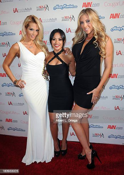 Adult film stars Jessica Drake, Kaylani Lei and Samantha Saint arrive for The Sex Awards 2013 held at Avalon on October 9, 2013 in Hollywood,...