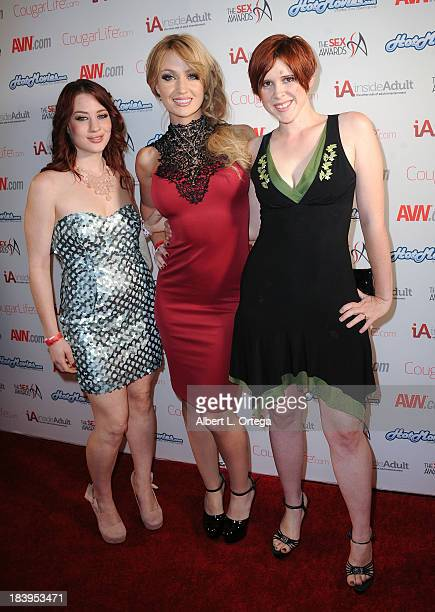 Adult film stars Jessica Ryan Angela Sommers and Lily Cade arrive for The Sex Awards 2013 held at Avalon on October 9 2013 in Hollywood California
