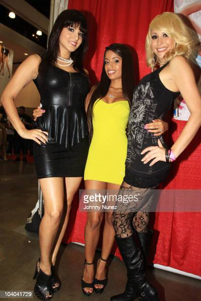 Adult film stars Sunny Leone Lupe Fuentes and Monique Alexander attend the Adultcon Adult Entertainment Convention at Los Angeles Convention Center...